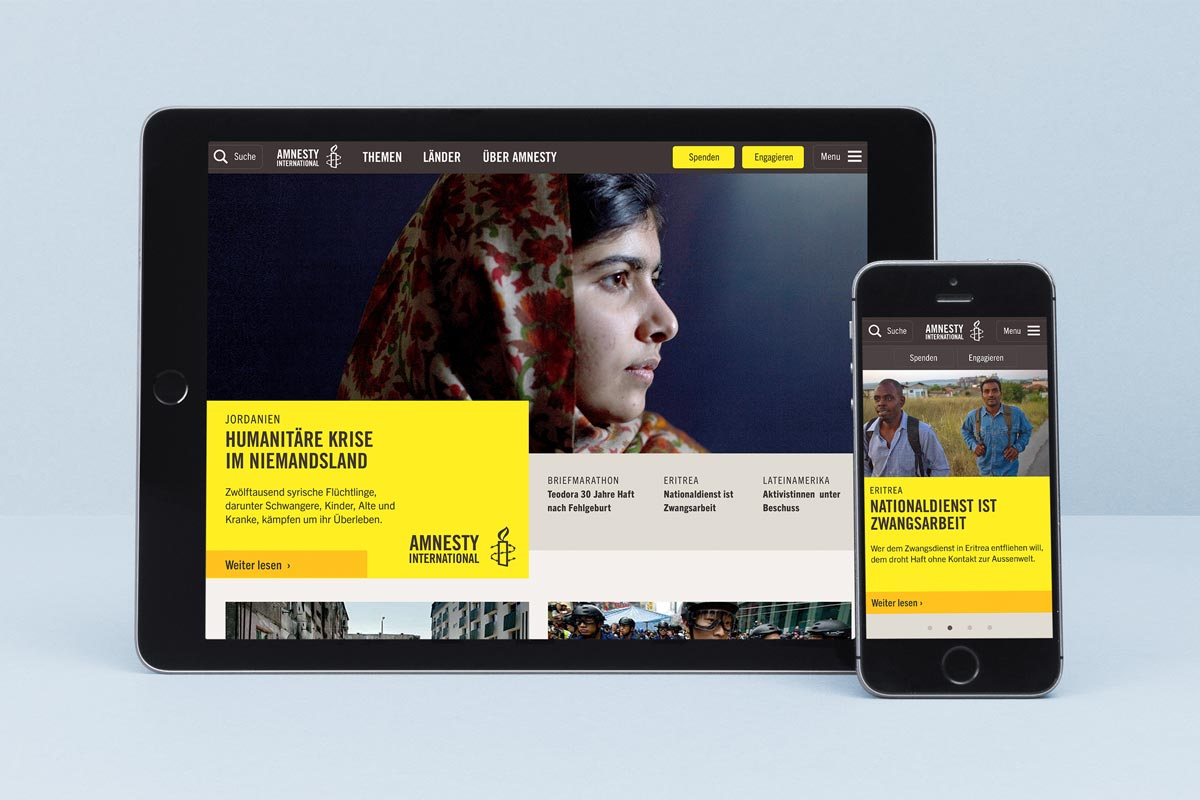 Amnesty International Schweiz, responsive Website